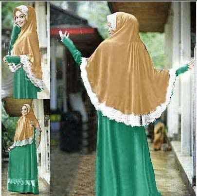 Model baju gamis muslim syar'i set bergo kura Kl01 tosca