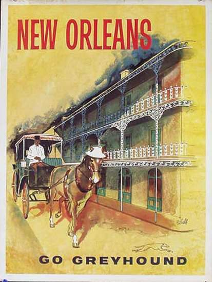 DP Vintage Posters - Greyhound Bus New Orleans Original Vintage Travel Poster
