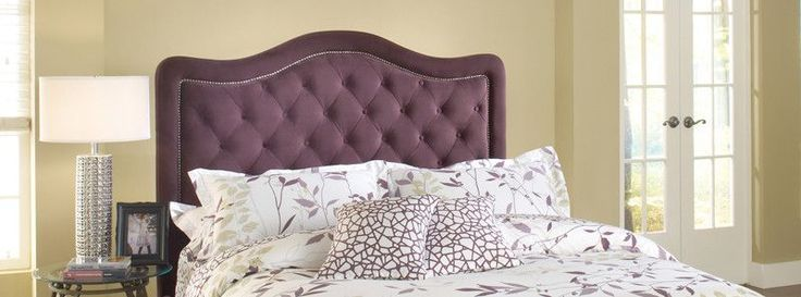 Hillsdale Furniture 1758-572 Trieste Fabric Headboard - Queen - Purple Fabric - Headboard Frame Not Included