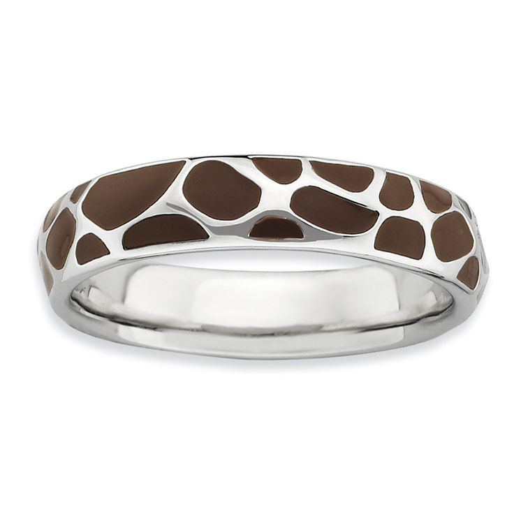 Sterling Silver Stackable Expressions Polished Enameled Animal Print Ring QSK583
