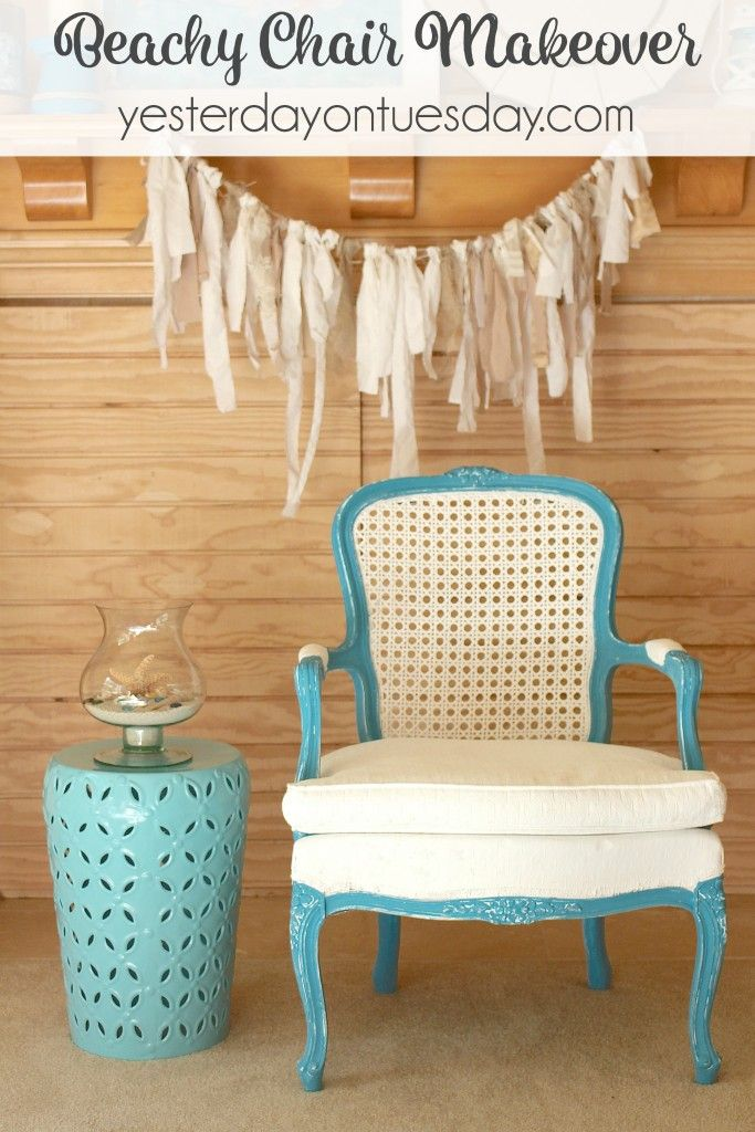 How To Makeover A Garage Sale Chair Into A Beautiful Beachy Chair. Itu0027s  Easy And