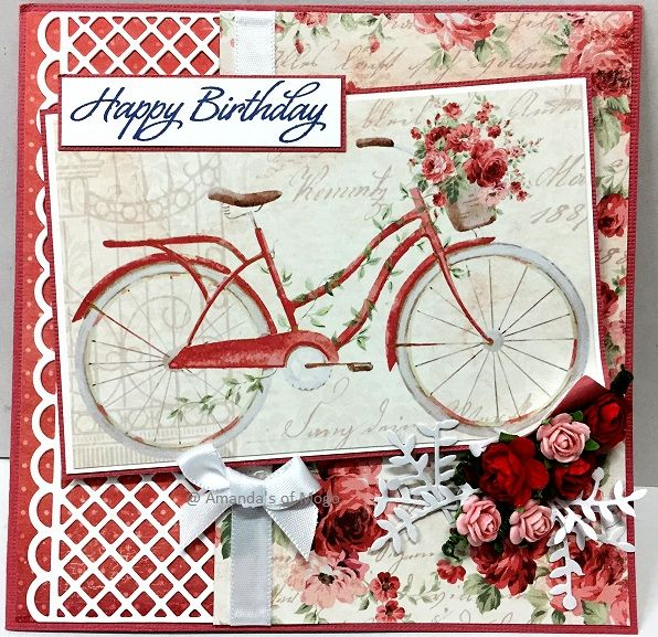 Happy Birthday Card, Bicycle, Maja Designs - Summertime Papers, Ultimate Crafts - Rambling Rose Collection, Latticed Panel Die Cut, Amanda's of Mogo, Cardmaking, Papercraft
