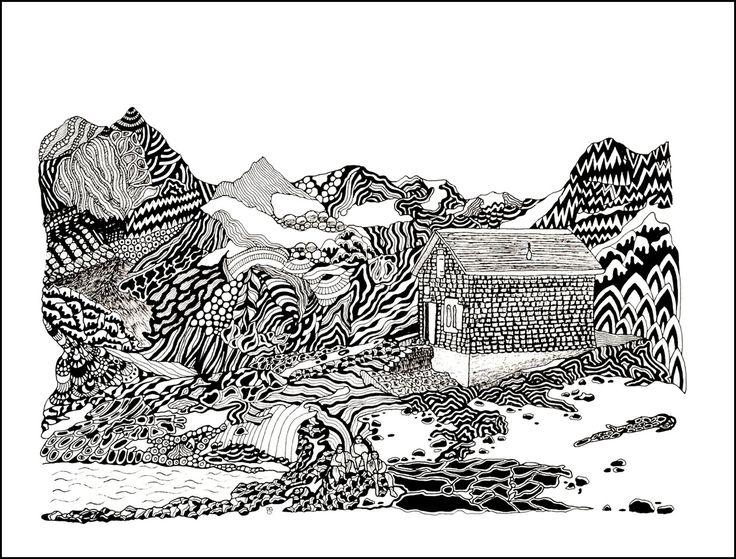 Sustli Hütte Kanton Uri Tuschezeichnung Copyright by mgbergbilder / Gabriele Maier