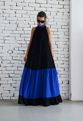 OVERSIZE BLACK AND BLUE KAFTAN DRESS