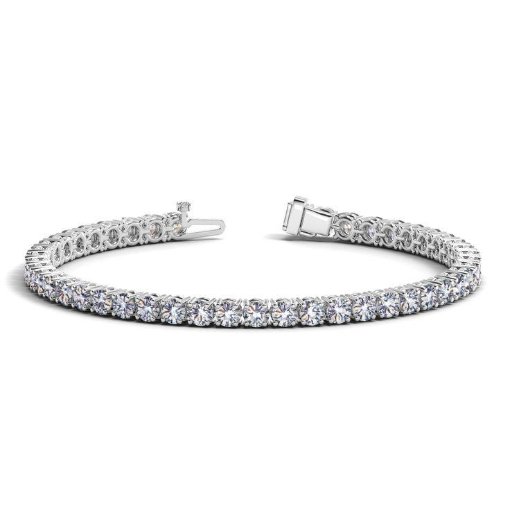 14K White Gold Round Diamond Tennis Bracelet (10 ct. tw.)