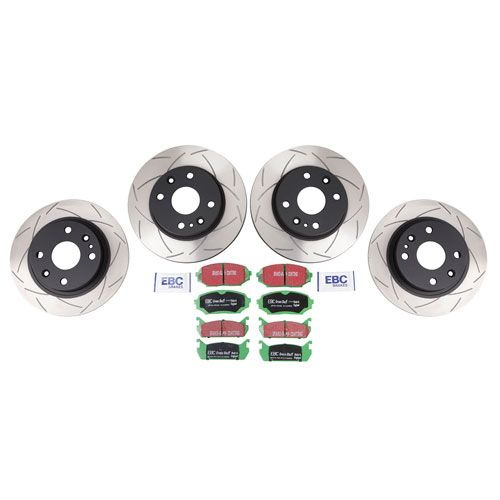 Performance Miata Brake Kit • Put the system to work for you. Slotted rotors provide maximum stopping power, while allowing harmful heat and gases to escape. EBC GreenStuff brake pads offer better performance than stock. Complete kit includes Front and Rear Rotors and Pads
