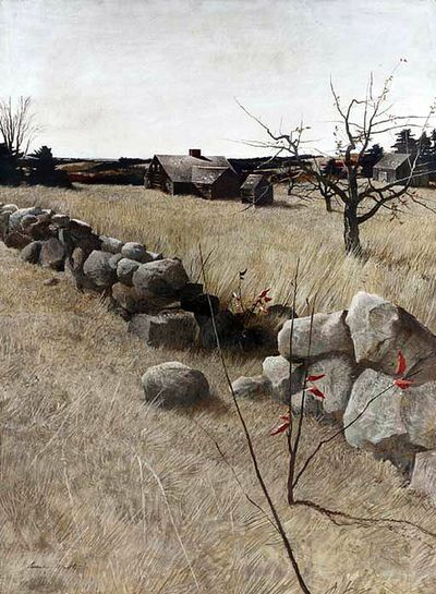 """The Stone Fence"", Andrew Wyeth. (via)  This is a melancholy scene; it makes me think of Proverbs 23:10."