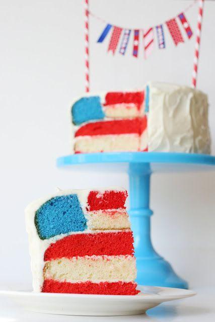 An American flag cake for Memorial Day dessert.