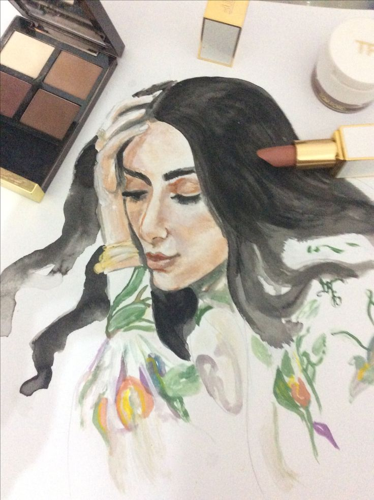 Dialamaki drawing with Tom Ford beauty products!!! Visit my page at instagram to watch the video..@xrwmatistaoneira .fashion illustration.