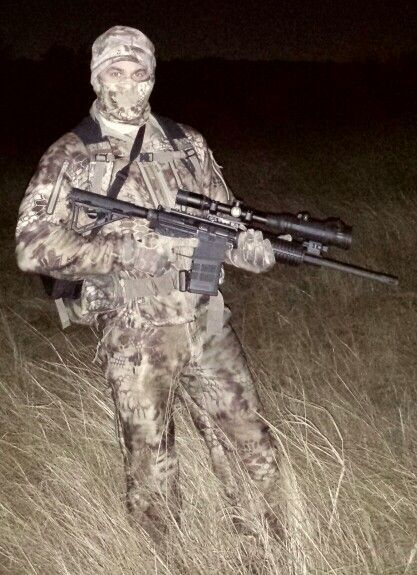 Texas hog hunting... night.  night vision.  Scouting is done with a Flir Thermal monocular.