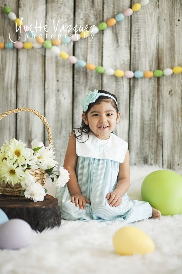 Egg Garland | Monogrammed Dress | Easter Holiday | Photo Shoot | Kid Portraits | Photography Ideas