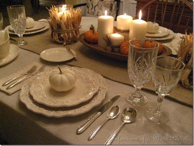 CONFESSIONS OF A PLATE ADDICT My Thanksgiving Table...Cream With Natural Elements