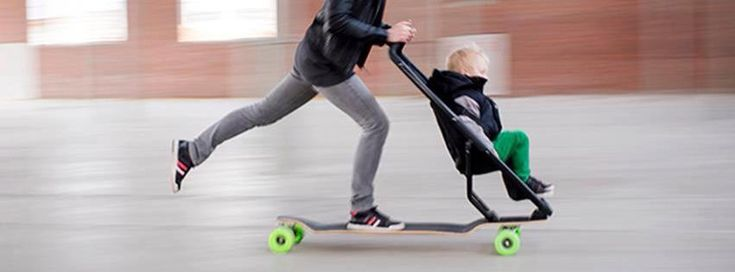 Longboard Stroller. Maybe it's just me, but this seems like it could end badly!