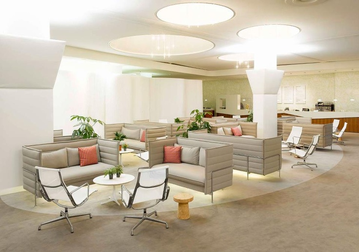 Alcove Sofas, Eames Aluminium Chairs, Nelson Tables, Cork Family
