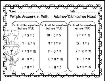 Multiple correct answers for math test practice... mixed skills, addition, subtraction First Grade Math - recently updated $
