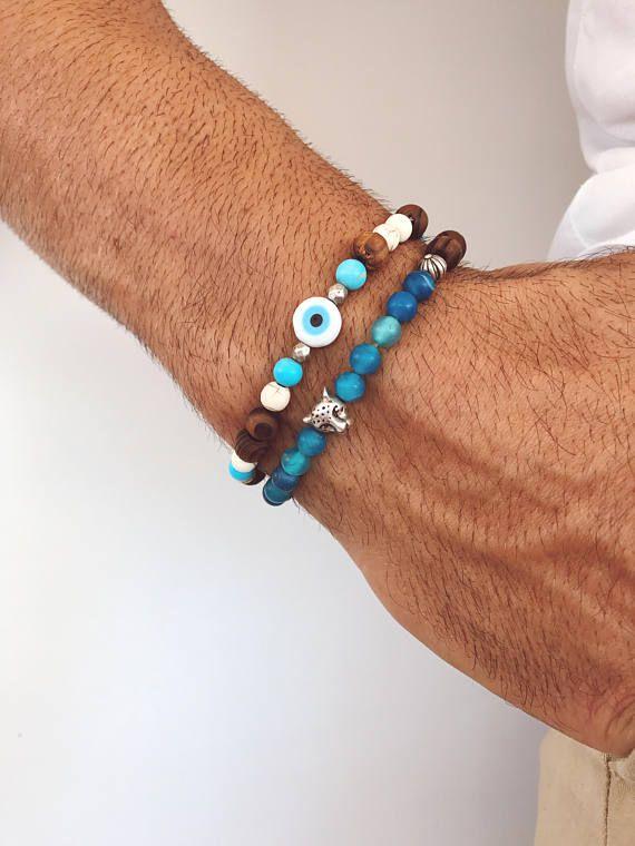 Men's Bracelets, Wooden Beads Bracelets, Men's Jewelry, Evil Eye Bracelet, Gift for Him, Made in Greece, by Christina Christi Jewels.