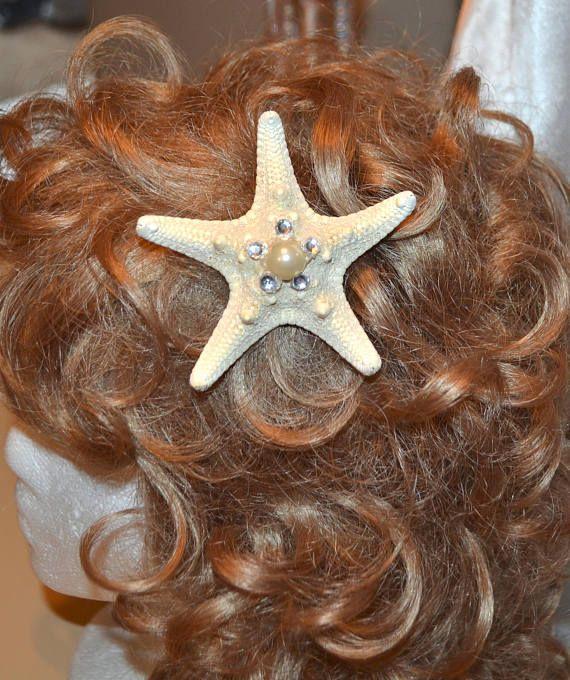 starfish hair clip mermaid hair clip  beach wedding  hair