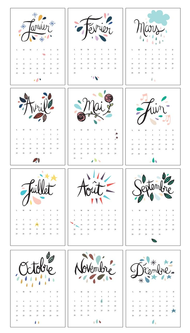 Free 2016 Calendar French | Le Calendrier 2016