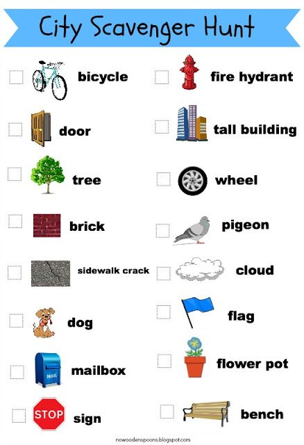 City Scavenger Hunt free printable via NoWoodenSpoons