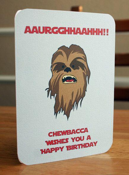 Star Wars Printable Birthday Card Chewbacca by elletoppdesignworks, $2.00