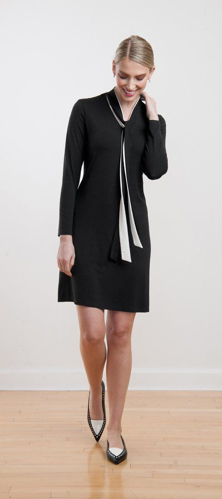 Versatile, work-appropriate black and white dress with neckties that can be tied a variety of ways