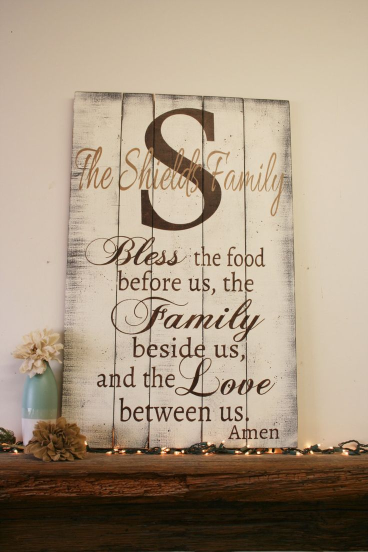 Bless The Food Pallet Sign Kitchen And Dining Room Sign