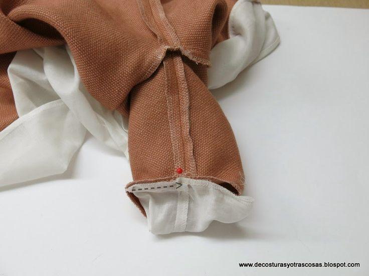 forrar-vestido-con-mangas coser las mangas del forro al vestido, el mejor tutorial.