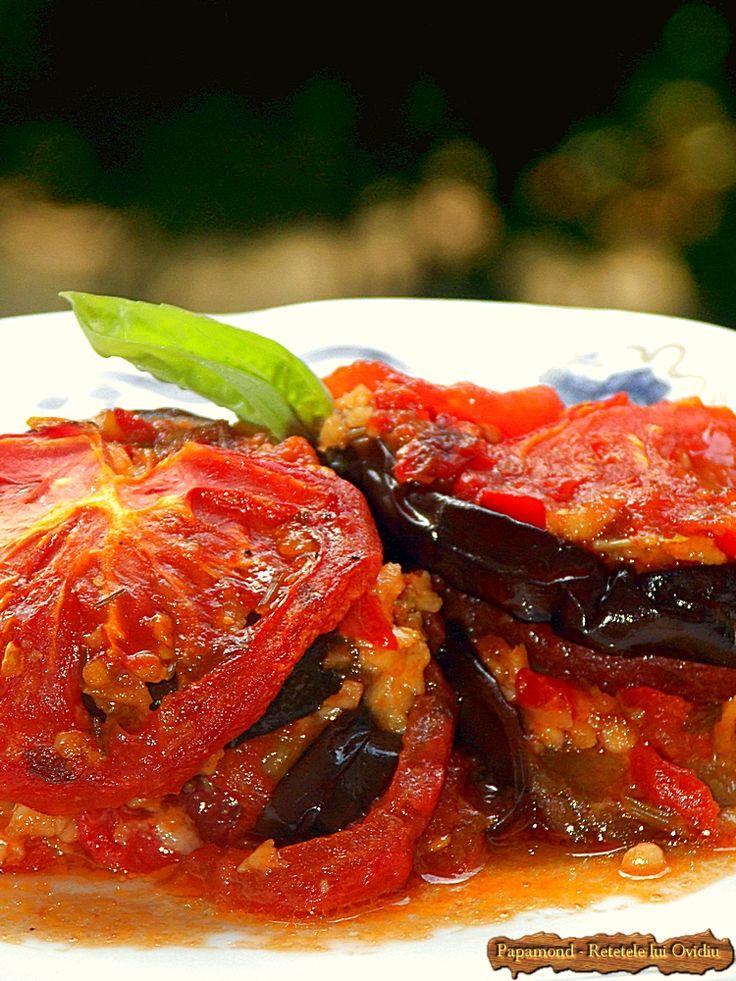 Vinete cu usturoi si rosii, rumenite la cuptor #eggplant #recipes