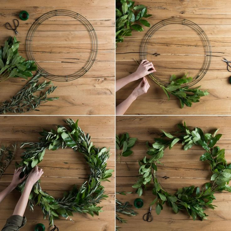 Wreath wire ring2 types of the greenery of your choice (we chose fresh lemon leaf and olive branch stems from our local florist that we suspected would dry nicely, but you can use whatever speaks to you!)Scissors Green floral wire