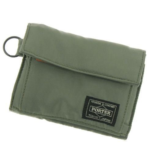 Porter Tanker Wallet. Product No.:622-08167. Outside: Nylon twill (bonding finish on polyester side)/Inside: Nylon taffeta. Size: W130/H100.  Available in Black, Silver Gray, Khaki