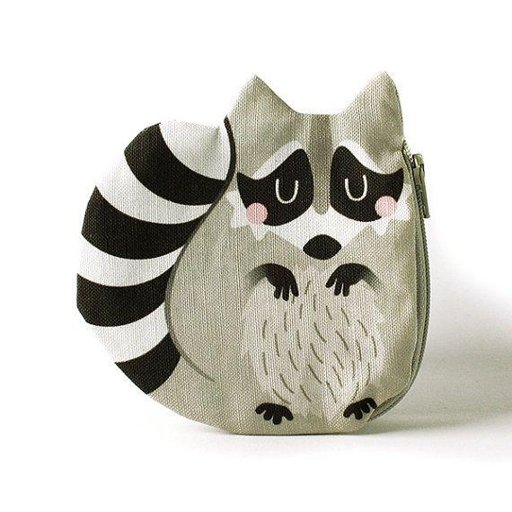 Raccoon Coin Purse, Coon, Cotton, grey