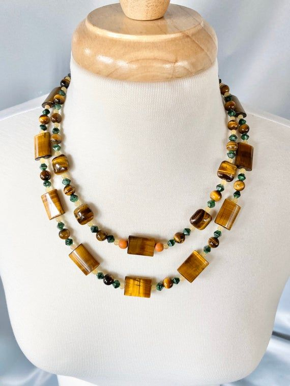 b184 Beautiful Tiger/'s Eye Beaded Necklace