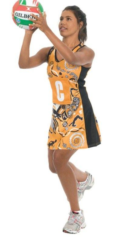 Zest Gold/Black Netball Dress (ZGB)   (incl GST) 75.00 Description Essential A-line netball dress in Gold and Black.  #netballuniforms  #sportswear  #uniforms