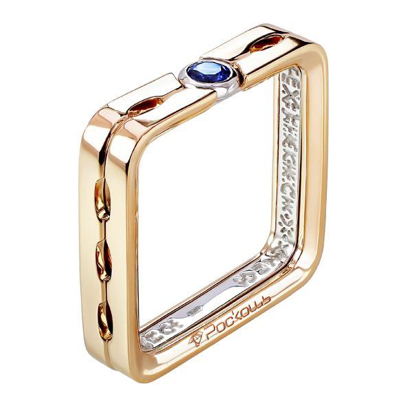 Кольцо квадратное из рыже-белого золота с сапфиром и бриллиантами | ЮБ Роскошь