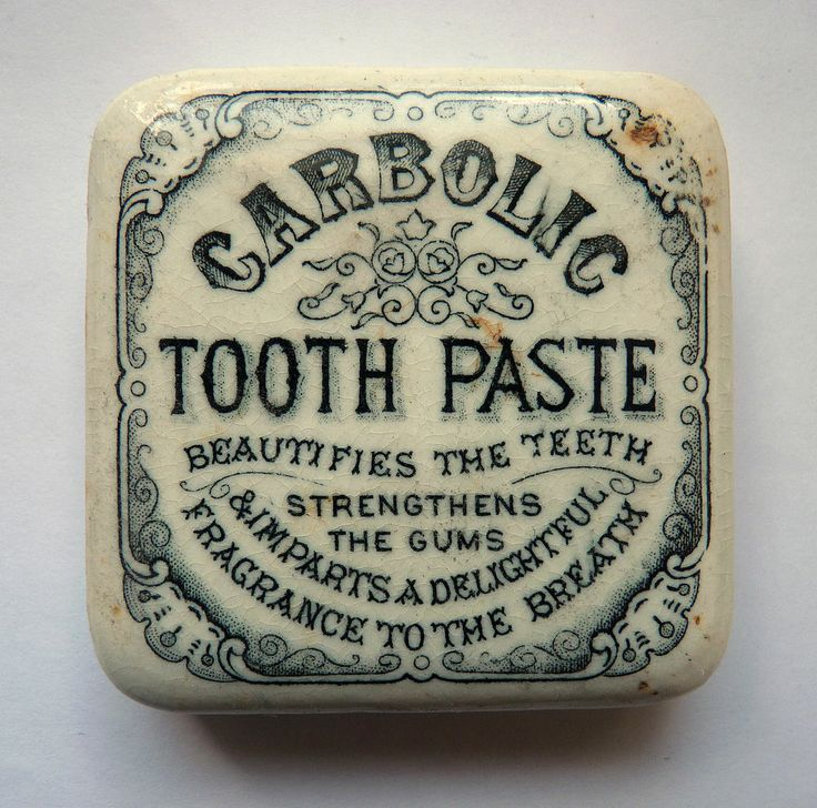 SUPER EDWARDIAN SQUARE 'CARBOLIC TOOTH PASTE' POT LID
