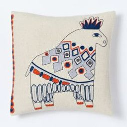 Embroidered Bull Cushion Cover West elm