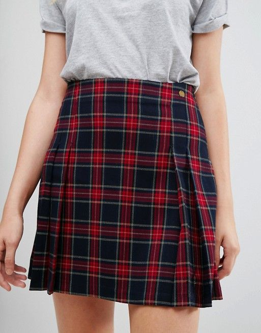 Pepe Jeans Tartan Pleated Mini Skirt