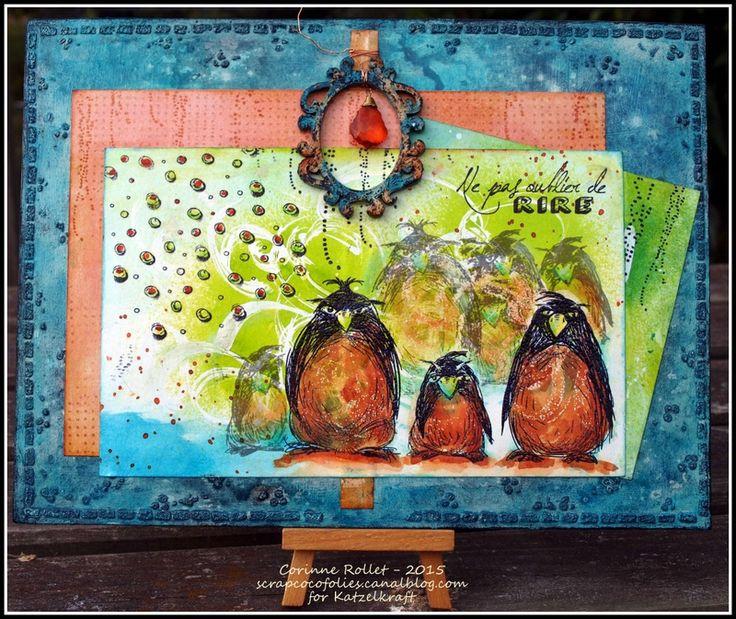 Les folies de Coco... A funny board with new KTZ145 - Grumpy Pinguins, KTZ147 - Texture Droplets, ..