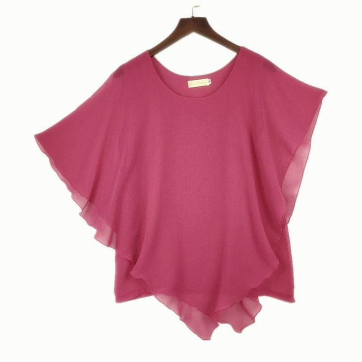 Plus size S-6XL Ladies Chiffon Blouses Batwing Asymmetric Sleeves Pink Shirt #Unbranded #Blouse #Casual