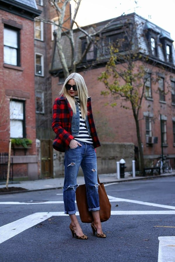 Ripped Jeans, Black and white striped shirt with denim jacket and buffalo plaid jacket, leopard pumps