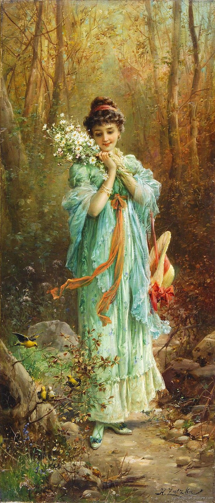 Hans zatzka paintings a lovely lady for Crazy mural lady