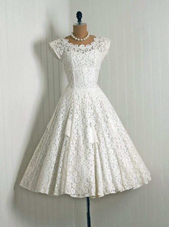 50s Lace Tea Length Wedding Dress Wish It Were Less Expensive Love Just The Same