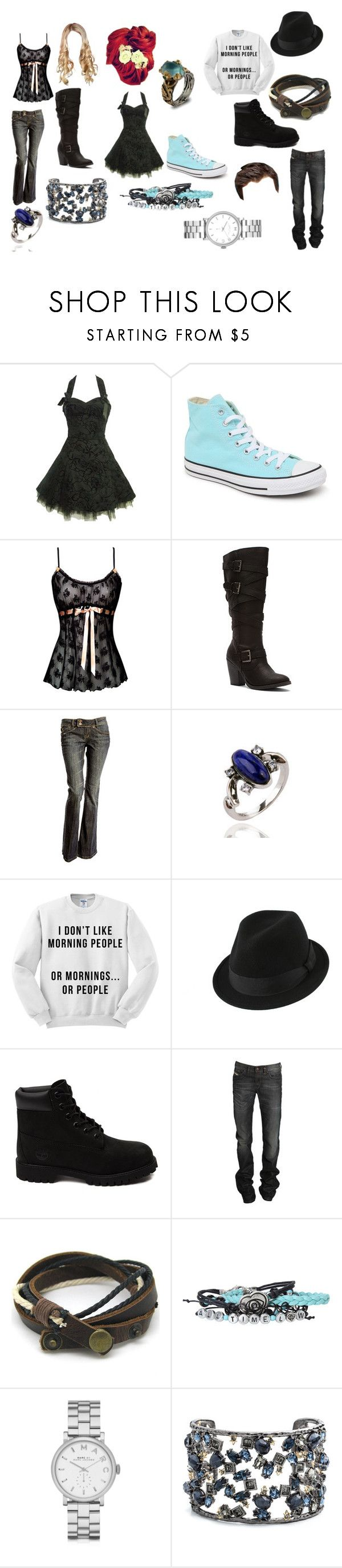 """""""11"""" by secretly-a-fangirl ❤ liked on Polyvore featuring Converse, Madden Girl, Timberland, Diesel, Hot Topic, Marc by Marc Jacobs, Alexis Bittar and Emma Chapman"""