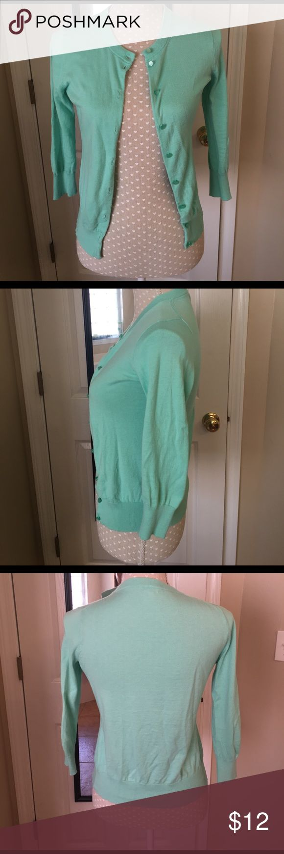 J.Crew Factory Mint Cardigan EUC Size XS 3/4 Sleeve J.Crew Factory Sweaters Cardigans