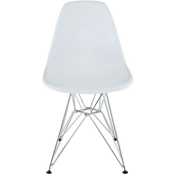 AmazonSmile   LexMod Plastic Side Chair In White With Wire Base  ... (