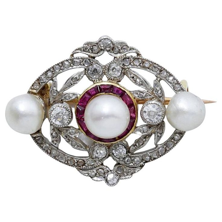 Belle Epoque Pearl, Diamond & Ruby Brooch (circa 1910) [$2,750]