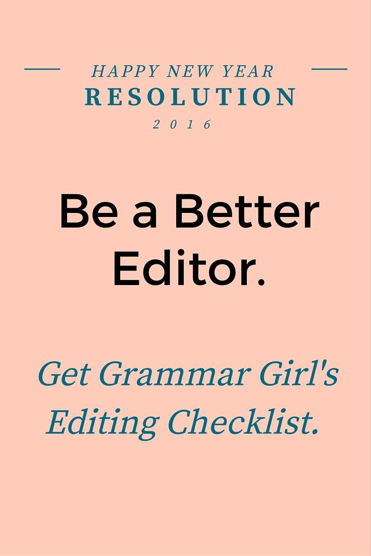 Grammar Girl's editing checklist #grammar #editing #printable