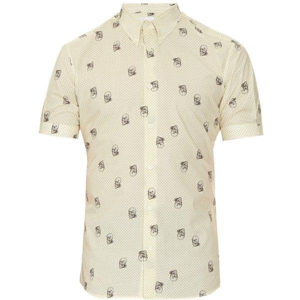 Alexander McQueen Micro-dot and skull-print cotton shirt ($327) ❤ liked on Polyvore featuring men's fashion, men's clothing, men's shirts, men's casual shirts, men, cream, mens casual short-sleeve button-down shirts, mens cream shirt, mens cotton shirts and mens skull shirts