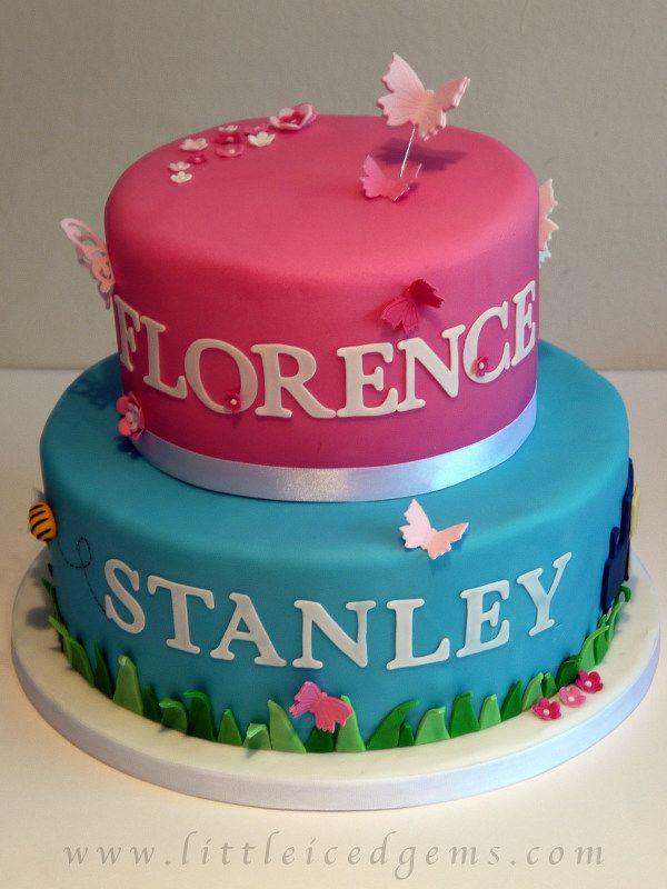 Two Tier Joint Christening Cake Www Littleicedgems Com