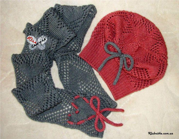 Детский шарф (хомут) с сердечками в комплект к шапочке » Клуб-Нитка - вязание спицами и не только